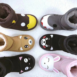 976887a78af designer shoes Girls Australia Style WGG Kids Snow Boots Cute Button Waterproof  Slip-on Children Winter Cow Leather Boots Brand Ivg EU21-35