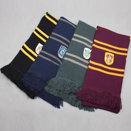 Bufandas de la escuela harry potter online-Harry Potter Bufandas de punto Moda Gryffindor Slytherin Magic School Bufanda cálida de invierno Borla raya Bufanda larga TTA1620