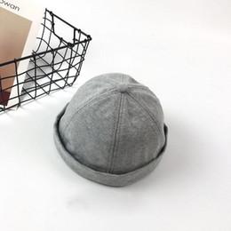 2019 angepasste hüte Men Casual Beanies Adjust Docker Hat Sailor Cap Mechaniker Biker Hat SKULLCAP Beanie Grau Marineblau rabatt angepasste hüte