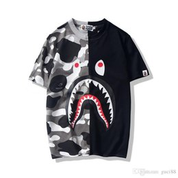 BAPE A BATHING APE Camo T-shirt Crew Neck Shark Head T Shirt Tops Mens Basic TEE