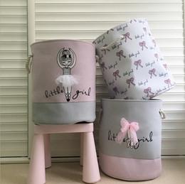sacchetto di stoccaggio dell'arco Sconti Pieghevole cesti per la biancheria rosa balletto ragazza giocattoli cesti di stoccaggio vestiti sporchi organizzatore boutique borse lavanderia arco ragazze opzionale YW3415