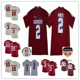 Custom Men s Women Kids Oklahoma Sooners 2 Jalen Hurts 10 Austin Kendall 3  Connor McGinnis Any Name Number Red White Jersey Orange Rose Bowl edf26086b