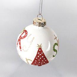 presentes pingente de decorações de Natal de vidro de comércio exterior bola teto disposição shopping 6,8 centímetros de Natal letra árvore de Fornecedores de placas de escola por atacado