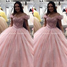 vestidos 15 korsett Rabatt Rosa Quinceanera Kleider Ballkleid-Spitze der Kristall Prom 2020 Debütantin Bonbon-16-Kleid-Korsett vestidos de 15 anos