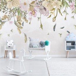 Flores de papel tapiz de la vida moderna online-Papel tapiz fotográfico moderno simple hojas flores pluma acuarela estilo nórdico fresco sala de estar dormitorio decoración del hogar pintura de la pared