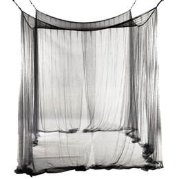 TOP! -4-Corner Bed Rede Canopy Mosquito Net para Queen / cama king size 190 * 210 * 240 centímetros (Black) de Fornecedores de rede de mosquiteiro quadrado