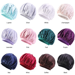 le protezioni delle donne musulmane Sconti Donne musulmane Wide Stretch Silk Bonnet Satin Sleeping Turban Hat Headwrap Cancer Chemo Berretti Cap copertura perdita di capelli Accessori