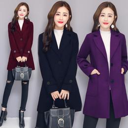 38867567a302 QMGOOD Wool Coat Women Autumn Elegant Korean Women Woolen Coat 2018 Blend Female  Jacket Slim Long Trench Clothing