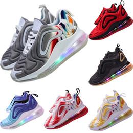 Almofadas led on-line-2019 tênis de iluminação crianças voar fio respirável tênis originais crianças zoom air built_in LED iluminação amortecimento jogger shoes