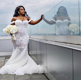 vestido de novia sirena lentejuelas rhinestone Rebajas 2019 africana nigeriana modesta sexy sirena vestido de novia apliques de encaje vestidos de novia fuera del hombro más tamaño vestido de novia