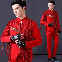 2019 trajes de jazz masculinos Costumes Bar Dj Discoteca Lantejoula Tassel Red Jacket macho coreano Versão Homens do cantor Tendência Jazz Palco Wear DWY1675 desconto trajes de jazz masculinos