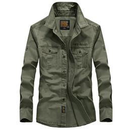 Kleid einheitliche armee online-Beiläufige feste Hemden Männer 100% Baumwolle Langarm Business Hemden Camisas Cargo Army Uniform Hemd Chemise Homme