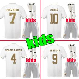 Maillot de foot 2019 Real Madrid Kids Kit Soccer Jerseys Maillots de football 19/20 Home HAZARD Boy Child Youth Modric 2020 SERGIO RAMOS BALE Football Shirts Camisetas de fútbol ? partir de fabricateur