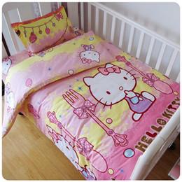 Baby-duvet-sets online-Beförderung! 3 STÜCKE baby bettwäsche set baumwolle vorhang krippe babybett sets, umfassen (bettbezug / blatt / kissenbezug)