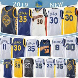 curry Desconto 1 Russell 30 Curry Jersey 35 Durant 23 verde 1 DAngelo 11 Thompson 9 lguodala camisola homens de basquete