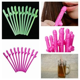 wholesale plastic penis Promo Codes - Wholesale- 10 pcs Hen Party Willy Straws Sex Products Dicky Jok Straw Event Bachelorette Party Supplies Drinking Fun Penis Straws 5ZHH201