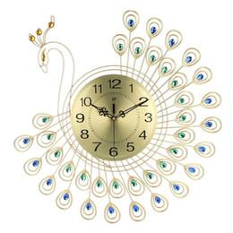 Pavos reales de metal online-Reloj de oro grande del diamante 3D del pavo real del reloj de pared de metal para 53X53cm Inicio Sala de estar de la decoración DIY Crafts Relojes Adornos regalo