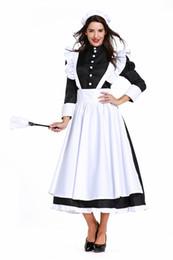 Trajes nacionais tradicionais on-line-Branco e preto Carnaval Alemão Empregada Doméstica Cosplay Fancy Dress Inglaterra Cozinheiro Feminino Traje Sexy Nacional Tradicional Governanta Uniforme