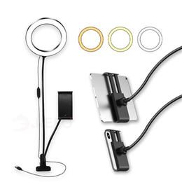 Flash LED selfie luz del anillo del soporte del teléfono móvil Clip Lazy soporte de escritorio LED para la lámpara de Livestream Fotografía Lámpara titular del teléfono maquillaje desde fabricantes