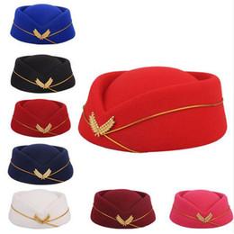 Laine feutrée hôtesse de l'air béret chapeau de base casquette hôtesse de l'air sexy formelle uniforme chapeau casquettes accessoire rouleau ? partir de fabricateur