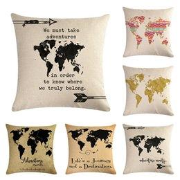 2019 mapa do mundo de algodão 45 * 45 cm Nova Moda Sofá Lance Fronha De Linho De Algodão Travesseiros Caso Capa travesseiro Carta mapa do mundo Impresso Quarto Casa Decorativa