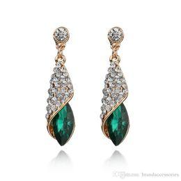 Charms Boucles d'oreilles pendantes en or rose avec diamants femmes longues boucles d'oreilles en cristal avec zircon cubique Boucles d'oreilles émeraude cœur de l'océan E638 ? partir de fabricateur