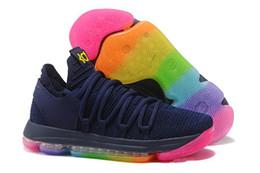 2019 лучшие продажи KD 10 EP баскетбольная обувь для высшего качества мужская обувь 10s Rainbow Wolf серый синий красный зеленый kd10 баскетбольные кроссовки от
