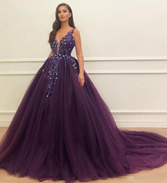 a5eca0b1fe1 2019 Grape Tulle Beaded Ball Gown Quinceanera Dresses Appliques Sequins  Deep V Neck Plus Size Formal Evening Party Dresses Prom Gown
