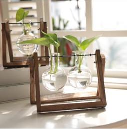 Деревянная стеклянная ваза плантатор террариум настольный гидропоника завод бонсай цветочный горшок с деревянным подносом рабочего стола домашнего декора от Поставщики современные подставки для растений