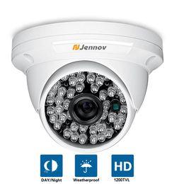 Wholesale Cctv Camera - HD CMOS 1200TVL CCTV Camera Mini Dome Security Analog Camera indoor IR CUT Night Vision Surveillance Cam 48 LEDS Lights For DVR