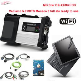 2019 scanner de voiture pour ordinateur portable NOUVEAU MB STAR C5 avec 2019.03V Logiciel HDD Outil de diagnostic de voiture Scanner pour ordinateur portable X200T SD Connect 5 avec fonction wifi pour voiture / camion scanner de voiture pour ordinateur portable pas cher