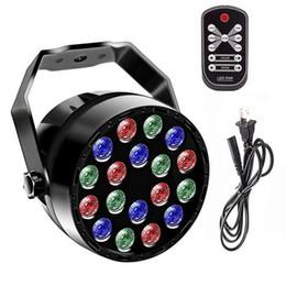 luz de escenario de alta potencia láser Rebajas luz DJ Etapa luces de iluminación 18LEDs Par 7 canales se activa por sonido Lámpara de control remoto DMX para la demostración de la boda del partido del acontecimiento