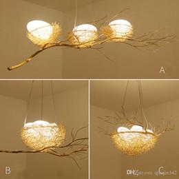 candelabros pájaros Rebajas Araña de nido de personalidad creativa tejida a mano Lámpara de araña de arte creativo nórdico comedor Araña de nido de pájaro posmoderna