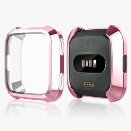 fitbit cobre Desconto Chapeamento + TPU Proteção Silicone Case Capa Para Fitbit Versa Full Screen Protector Para Fitbit Versa Case 61014
