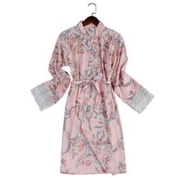 2019 Bata de dama de honor Flores de impresión Bata kimono de boda Para dama de honor Batas atractivas para mujeres Albornoces Noche Mini vestido de noche desde fabricantes