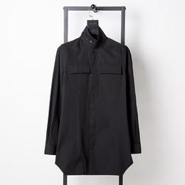 2019 camisas de bolso duplo homens Nova queda de gola alta lapela longa seção de bolso duplo ferramental Magro camisa europeus e americanos dos homens de mangas compridas camisa desconto camisas de bolso duplo homens