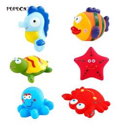 belos brinquedos para bebês Desconto 6 pcs Ocean Life Criativo Bonito Brinquedo Do Banho Set Brinquedo Da Água Definir Belo Brinquedo para o Bebê Recém-nascido Infantil