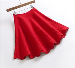 красные зонтичные юбки Скидка GTGYFF красный розовый черный стрейч высокая талия мини сексуальная вспышка a-line теплый вязаный зонтик юбка для женщин женские юбки saia saias
