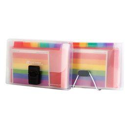 pasta de bill Desconto 13 Grades A6 Documento Saco Bonito Rainbow Color Mini Bill Recibo Arquivo Saco Bolsa Organizador Pasta File Holder Office Supply