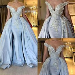 vestido saia destacável saia Desconto Céu Azul Vestidos Elegantes com Saia Destacável Off Ombros Applique Lantejoula Longo De Cetim Pageant Celebridade Vestidos de Baile Vestido