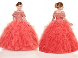 Incredibile ricamo oro Ruffles Little Girls Pageant Abiti Ball Gown Fresco spalla in rilievo lungo fiore ragazze Prom vestito convenzionale per i bambini da