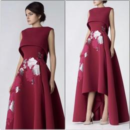 Элегантные мантии спандекса онлайн-Элегантный высокий Front Low Back Вышитые Цветы Пром платья 2019 Spandex A-Line Специальные платья для особых случаев Формальное вечернее платье