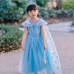 vestidos de capa Rebajas Baby Girl Snow Princess Dress for Girls Verano Lentejuelas Ropa Desgaste Cosplay Queen Costume Halloween fiesta de Navidad con la capa 3-8Y