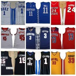 dauernde basketball-trikots Rabatt NCAA College Basketball Trikot Alle Mannschaften Kyrie George Durant Irving Wall Simmons Lillard Mitchell Allen Leonard Iverson Ayton Embiid Link