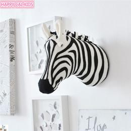 Zebra wanddekor online-Zebra 3d Tierkopf Figuren Statuen Ornamente Für Kinderzimmer Wand Geburtstag Party Weihnachten Hängen Dekor Geschenk J190521