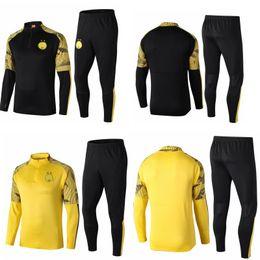 Kits de futebol preto amarelo on-line-19 20 dortmund treino kits roxo futebol jogging ternos terno de treinamento de futebol conjunto de manga longa preto uniformes amarelos survete jaqueta