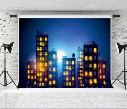 2019 spray de guitarra Sonho 7x5ft Super City Backdrop Noite Cenário Fotografia Fundo para Crianças Aniversário Blue Sky Shoot Backsrops Prop Festa Do Bebê estúdio