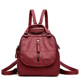 small blue bowl Coupons - Multifunctional Women Backpack Female Leather Backpack Small Mochila Feminina School Backpacks For Teenage Girls Bag Sac A Dos Y190627
