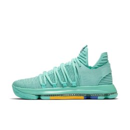 70aa62f772e0 Cheap New Mens KD 10 low cut basketball shoes 2018 City Pack Mint Royal Blue  Red China Kevin Durant KD10 x sneakers boots with box for sale