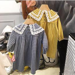 a4091433d7c2 2019 maniche lunghe vestito blu lolita vestiti della neonata vestito grande  turn down colletto manica lunga